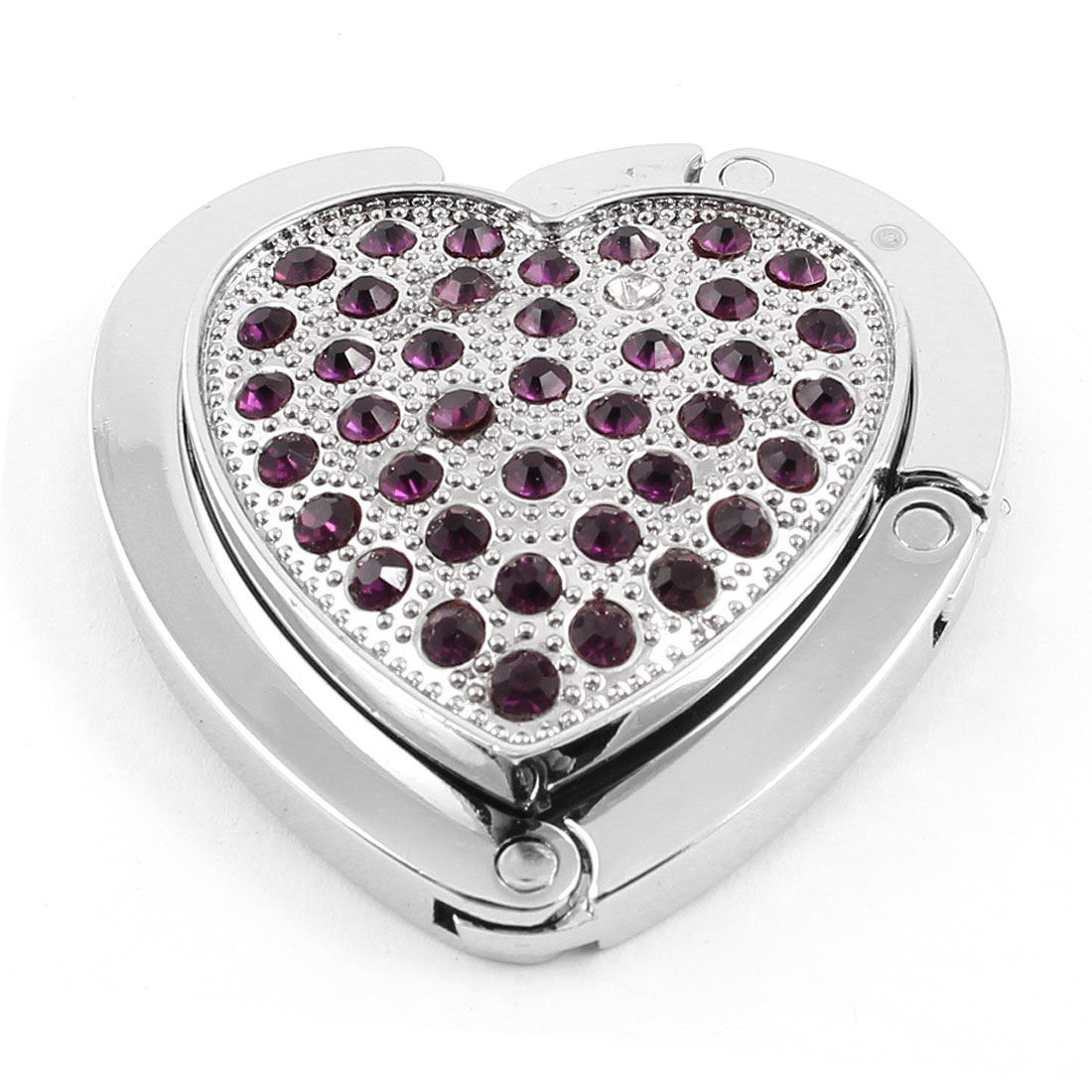 Rhinestones Heart Shaped Foldup Hook Dark Purple Silver Tone for Handbag