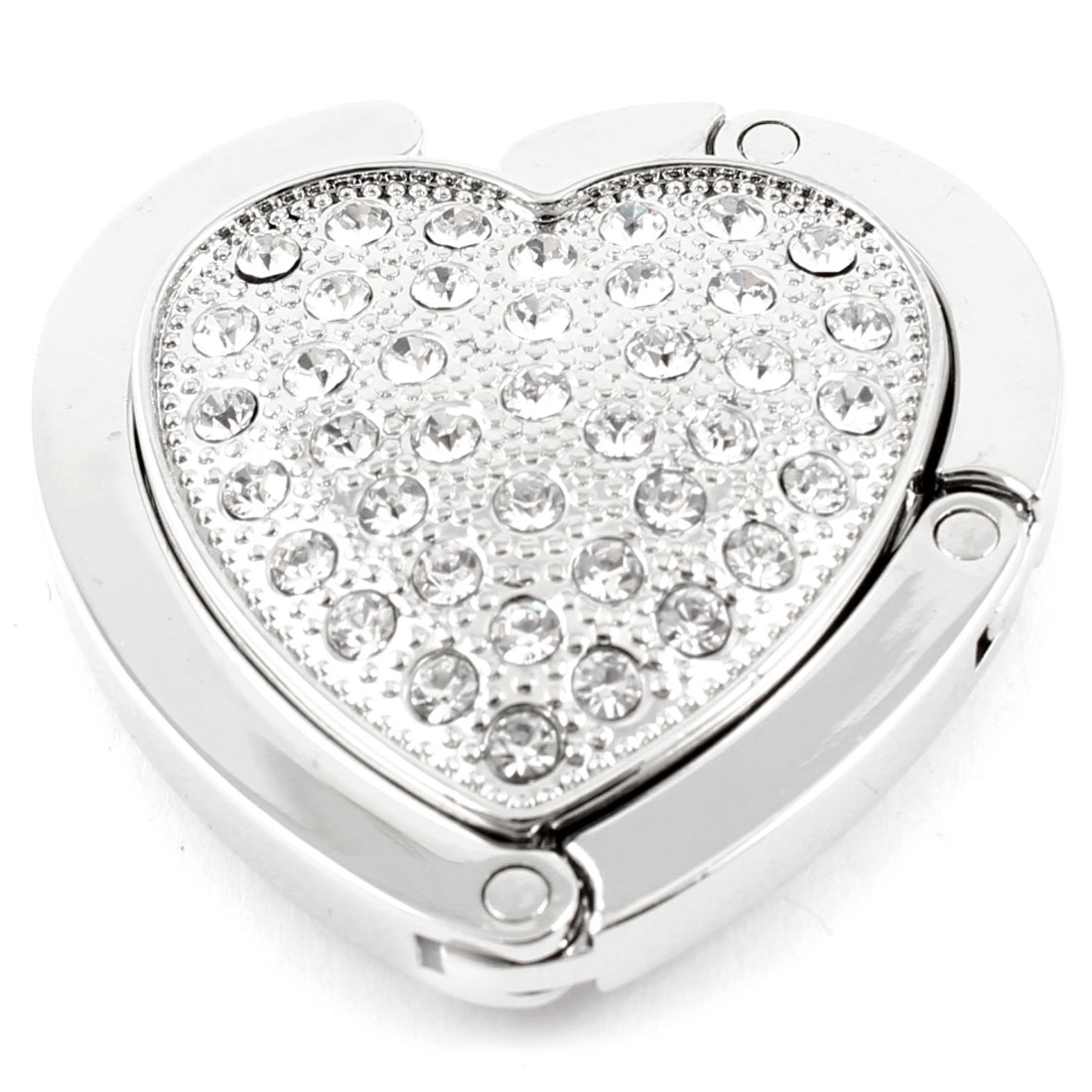 White Silver Tone Rhinestone Detail Heart Design Foldable Handbag Hook