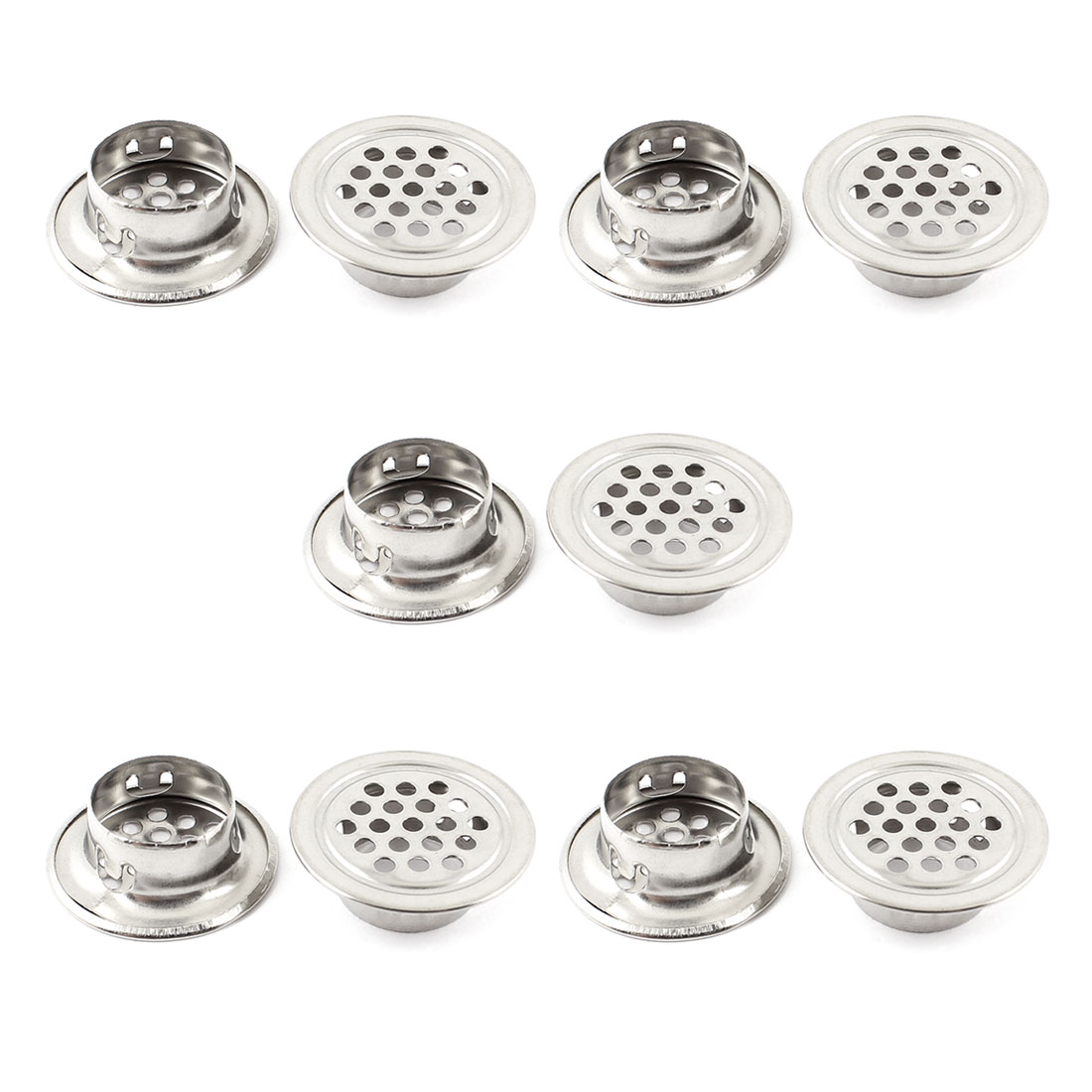 """Hardware Tool 0.74"""" Bottom Dia Silver Tone Metal Rounded Air Vent Louver 10 Pcs"""