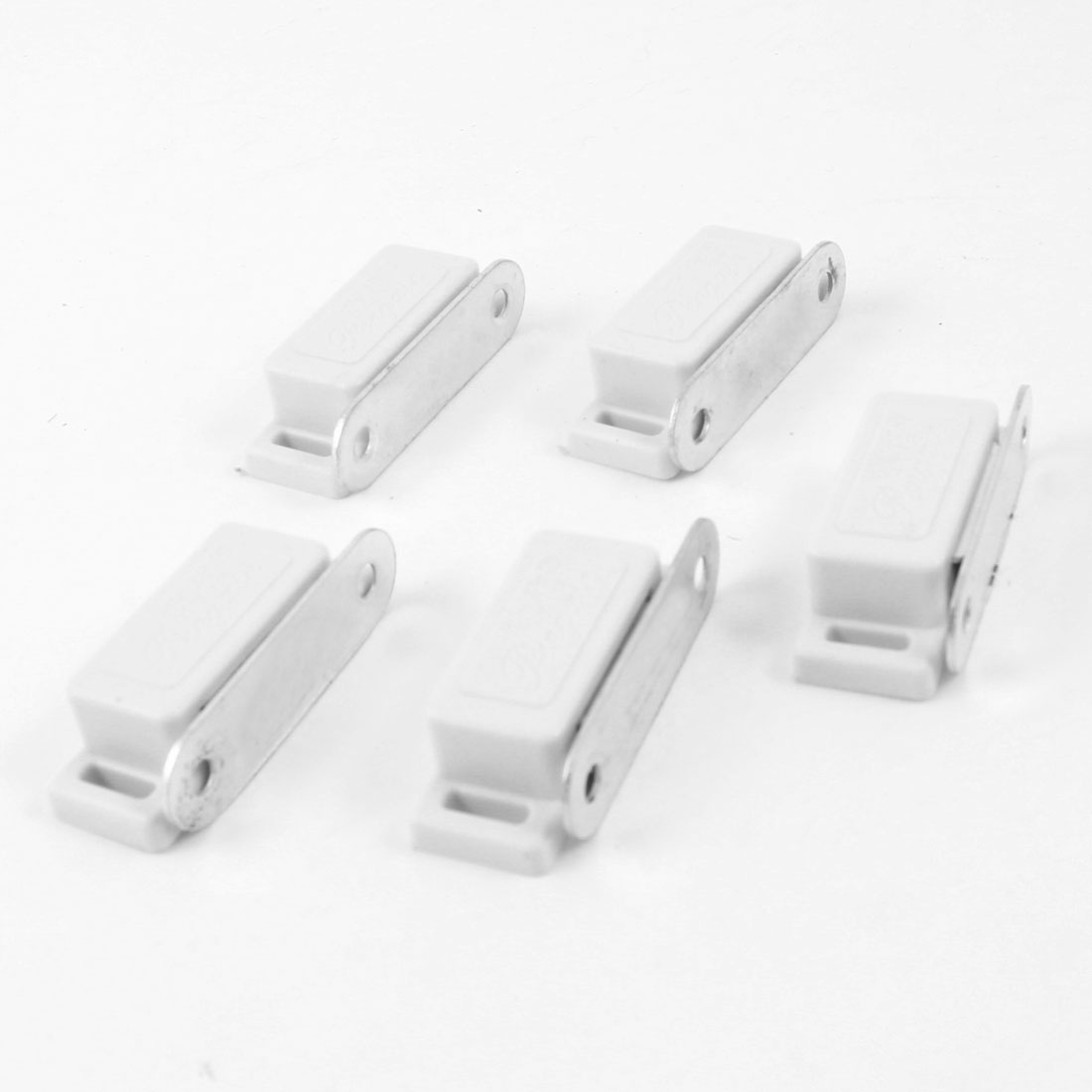 5 Pcs White Plastic Case Metal Plate Cupboard Door Magnetic Catch 1.77""