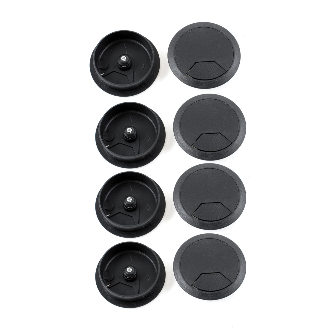 10 Pcs Computer Desk Black Plastic Grommet Cable Hole Covers 53mm