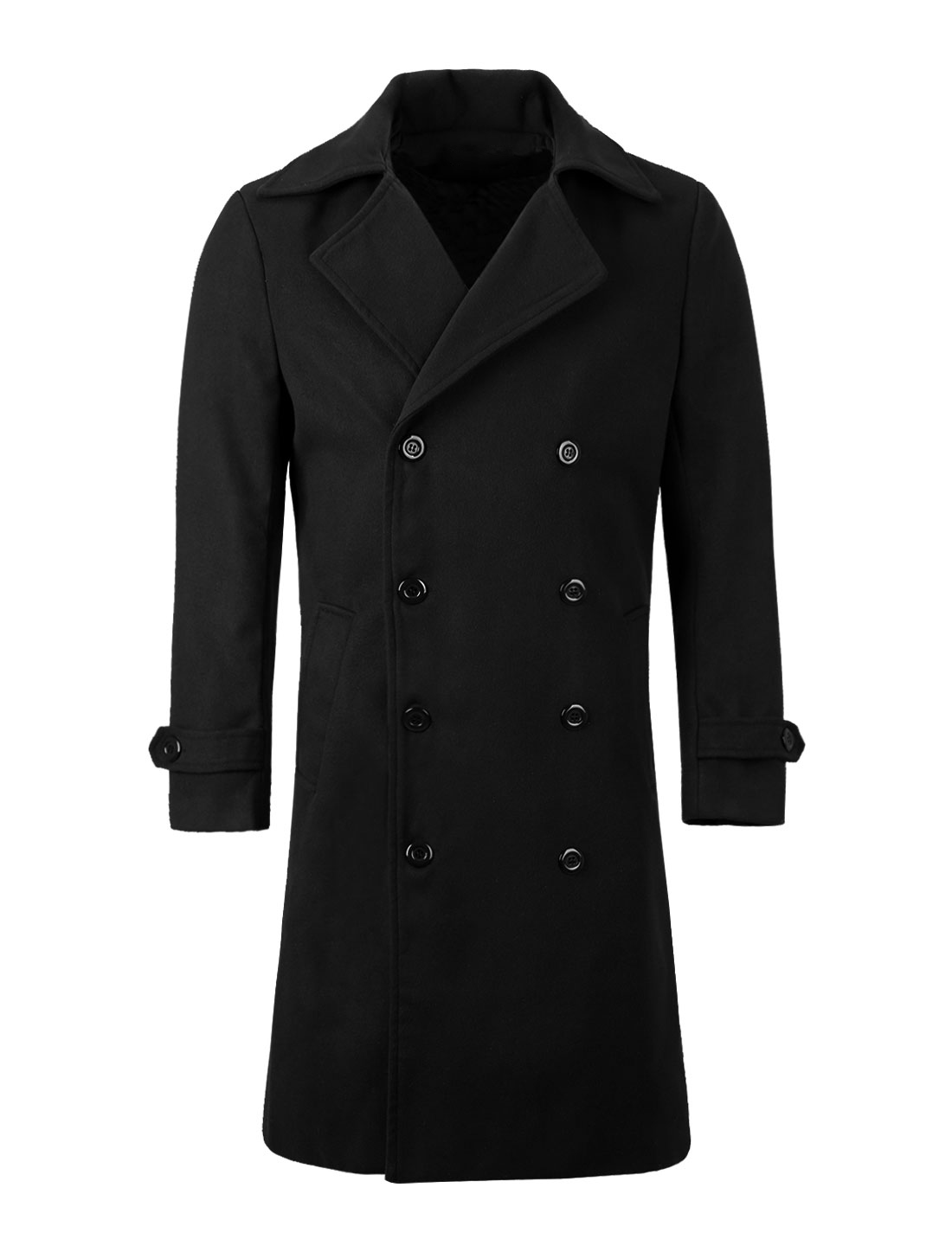 Men Convertible Collar Long Sleeve Overcoat Black M