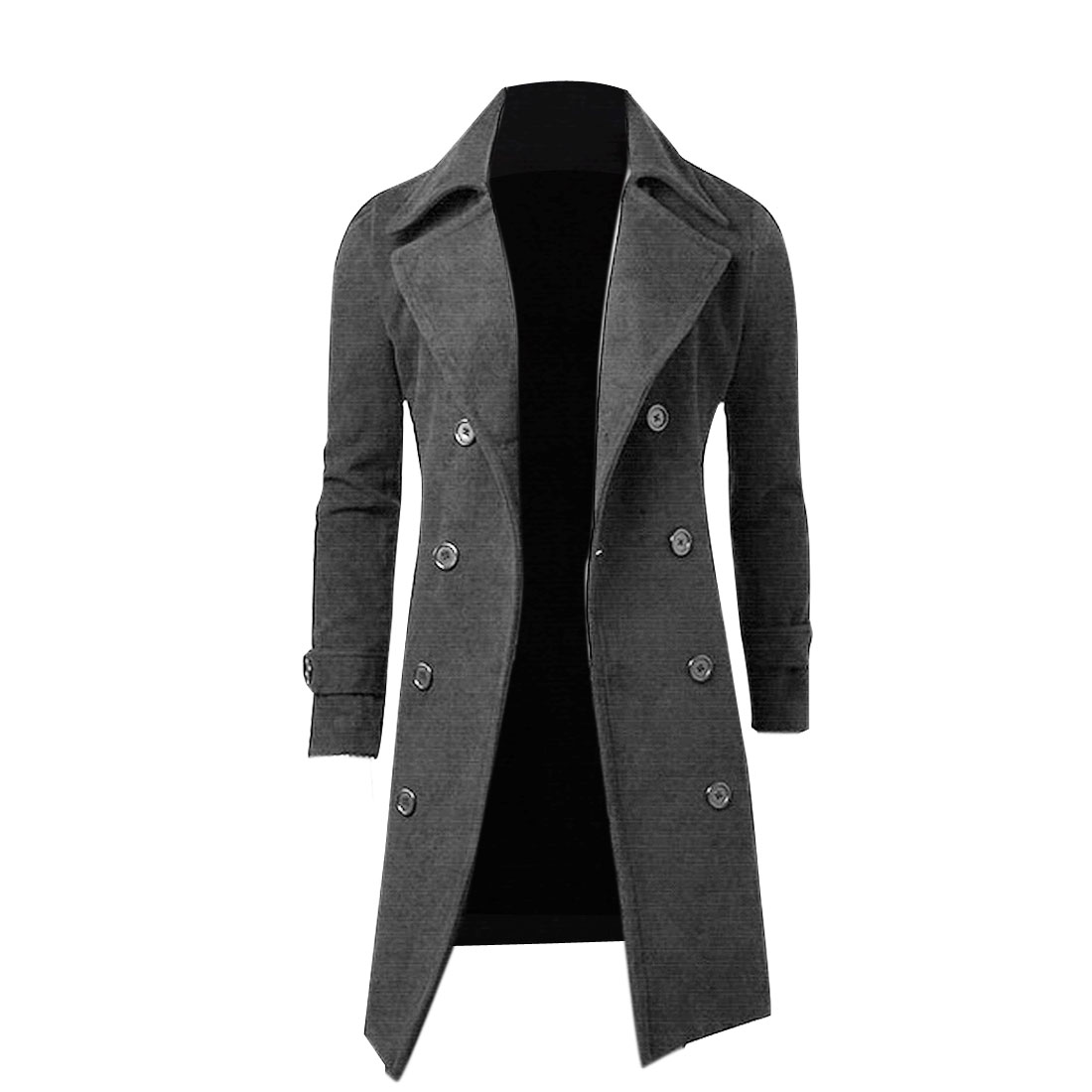 Men Convertible Collar Double Breasted Overcoat Gray M