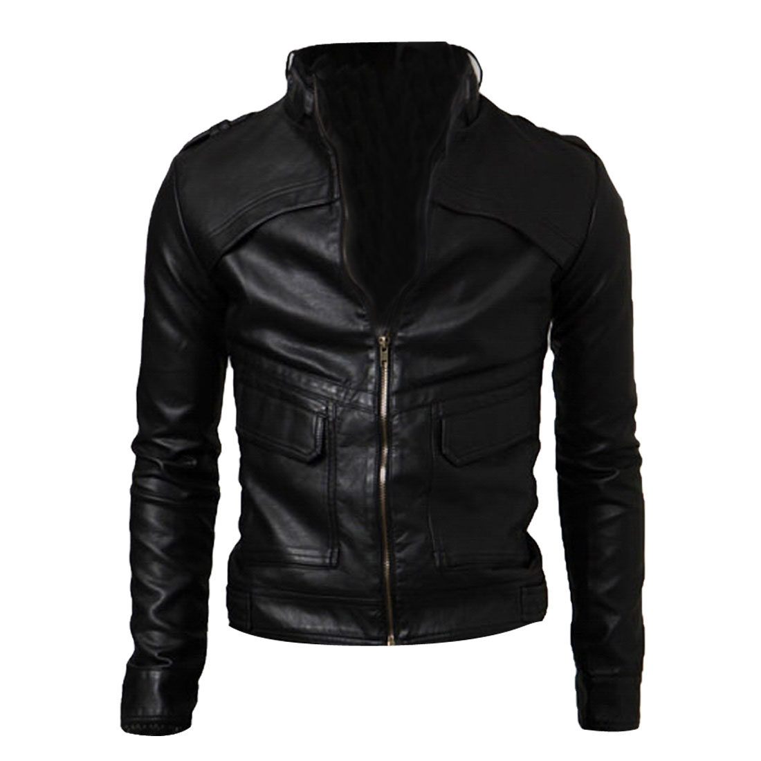 Man Chic Zipper-Up 4 Pockets Front Design Black Faux Leather Jacket M