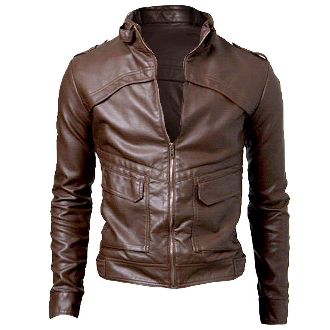 Mens Stand Collar Zip-Up Front Closure Brown Faux Leather Jacket M