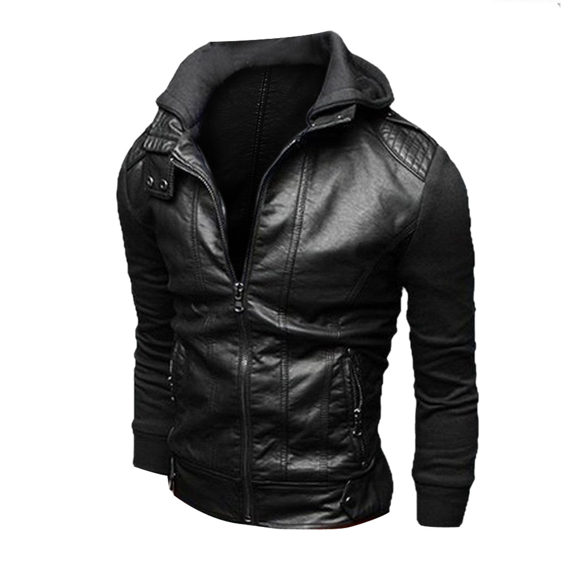 Men Hooded Zip Up Pockets Panel Casual Jacket Black M