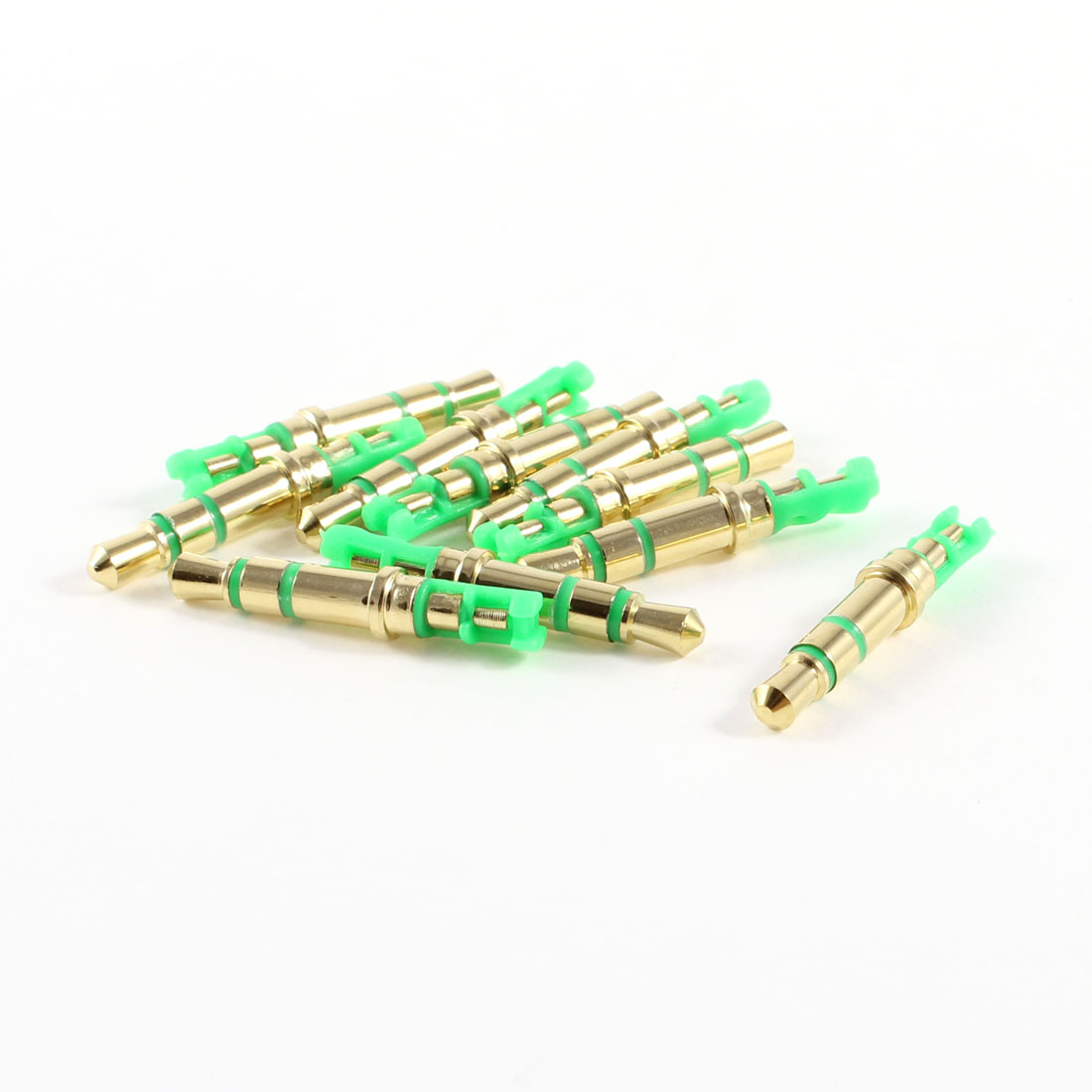 10 Pcs Green 3.5mm Male 3 Pole Stereo Earphone Headphone Audio Jack