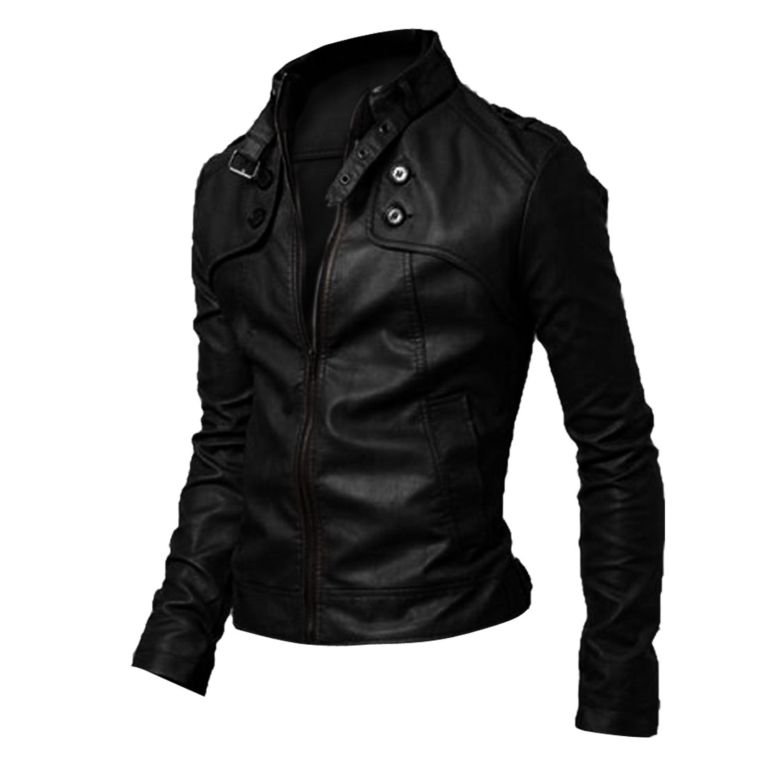 Men Long Sleeve Zip Up Buttons Decor Jacket Black M