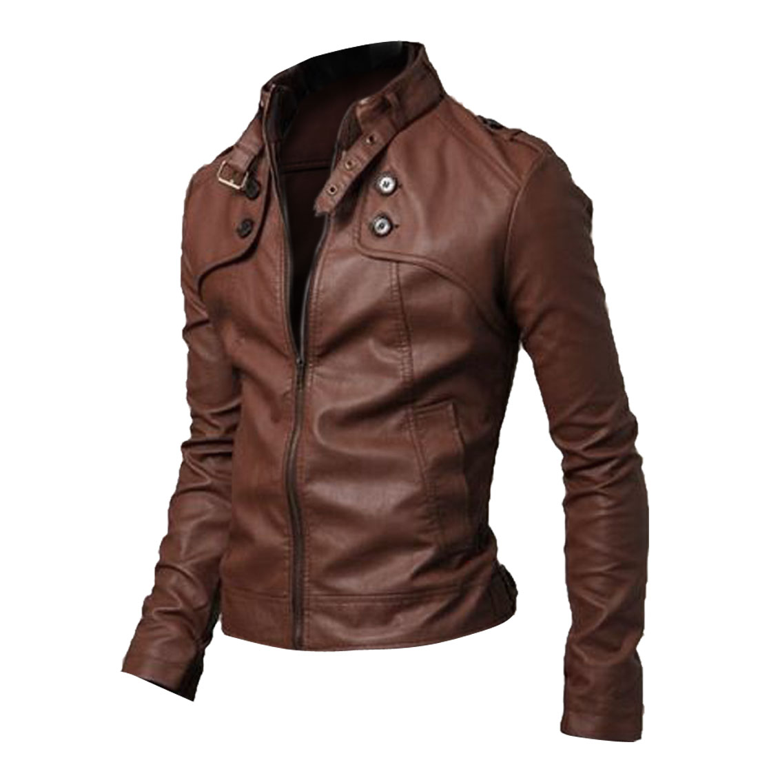 Men Stand Collar Zip Front Pockets Jacket Brown M