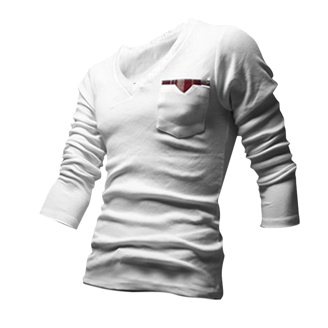 Men Pullover Long Sleeve Splice Chest Pocket T-shirt White M