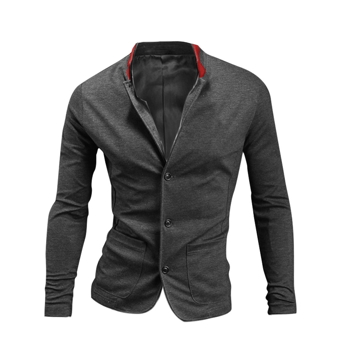 Mens Stand Collar Long Sleeve Single-Breasted Front Dark Gray Coat M