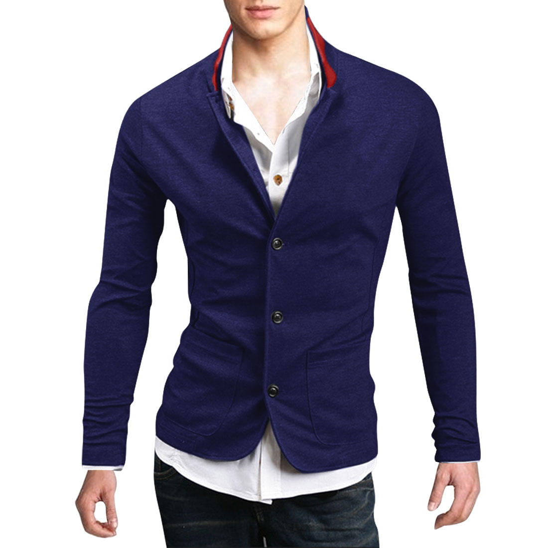 Man NEW Dark Blue Stand Collar Long Sleeve Button Down Outwear Coat M
