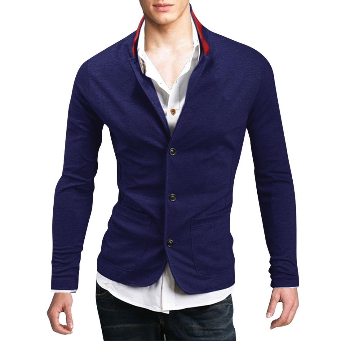 Man NEW Dark Blue Stand Collar Long Sleeve Button Down Outwear Coat M