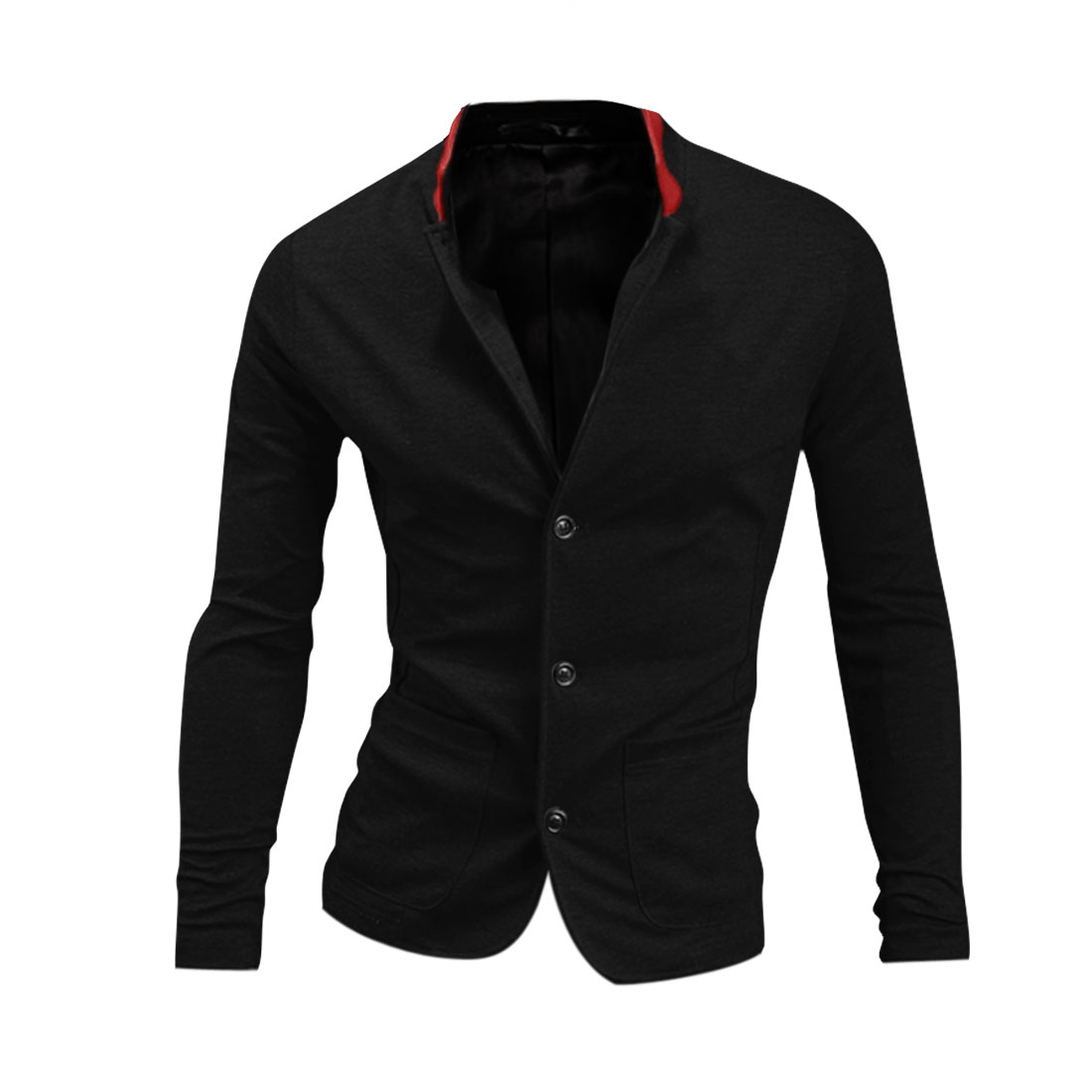 Stylish Black Color Two Front Pockets Design Button Front Coat for Man M