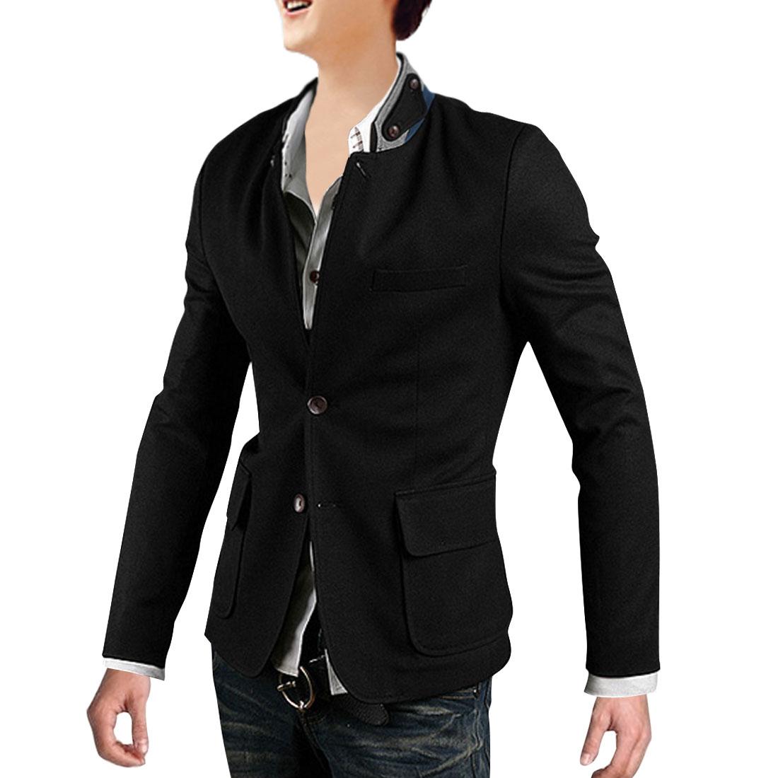 Men Convertible Collar Button Up Blazer Black M