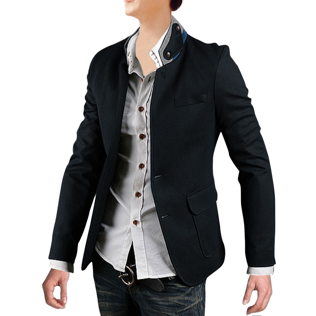 Men Button Down Long Sleeve Blazer Navy Blue M