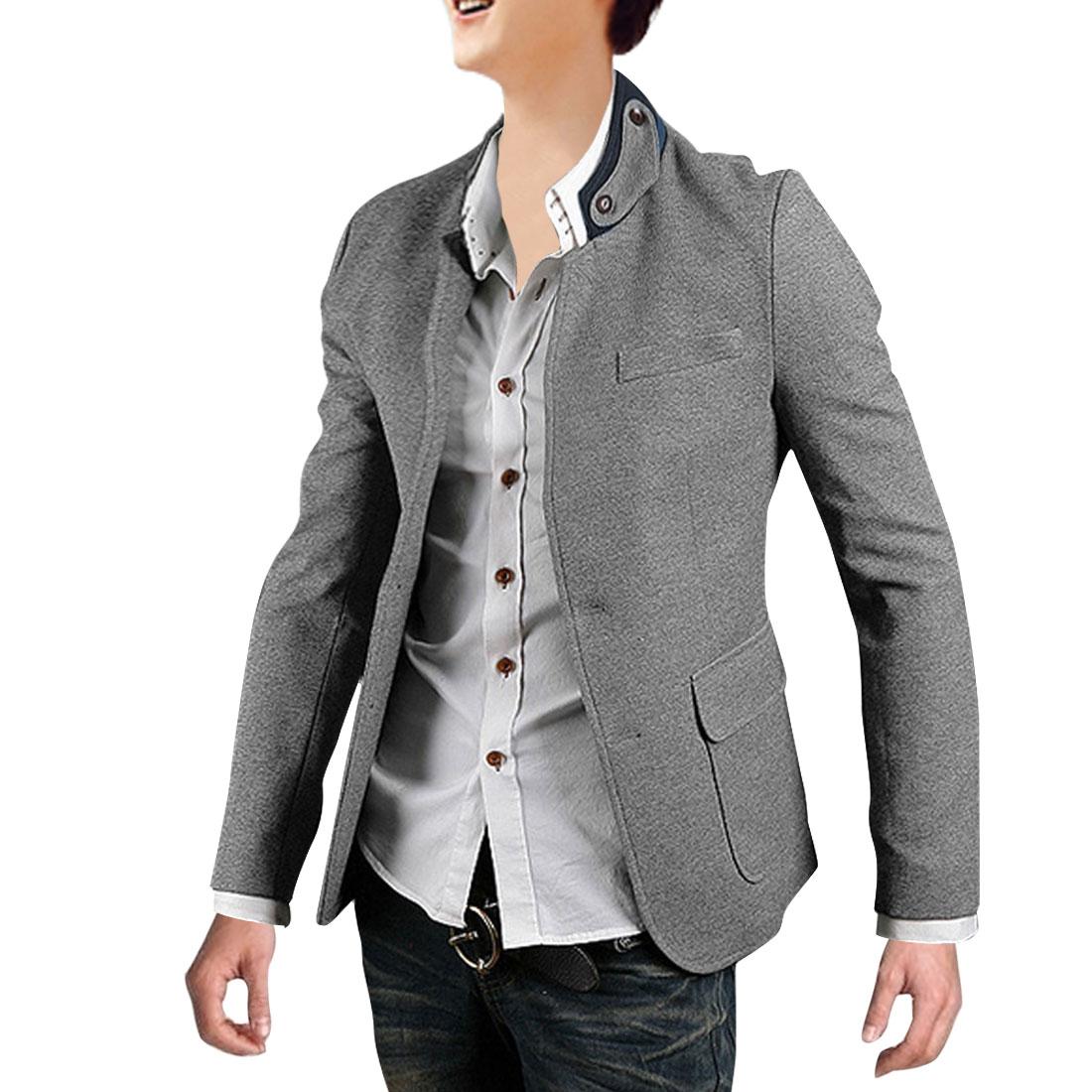 Fashion Men Single Breasted Split Back Blazer Gray M
