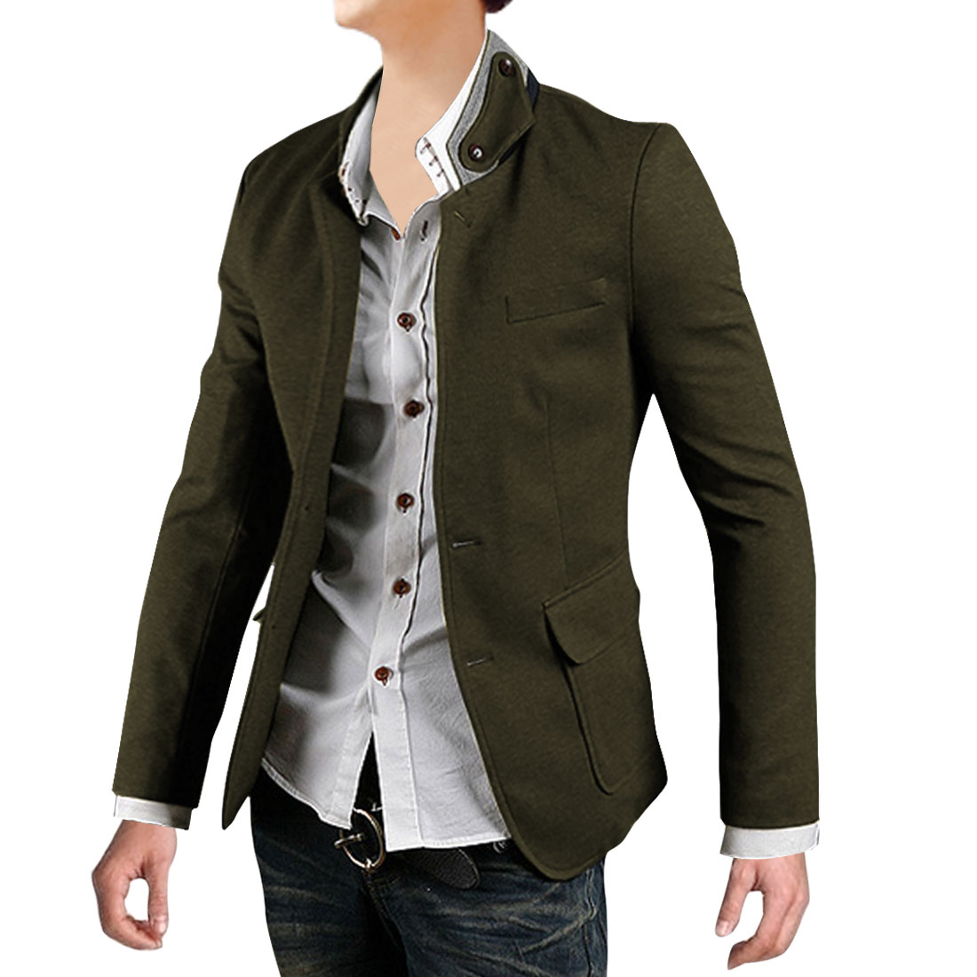 Men Panel Collar Pockets Front Blazer Army Green M
