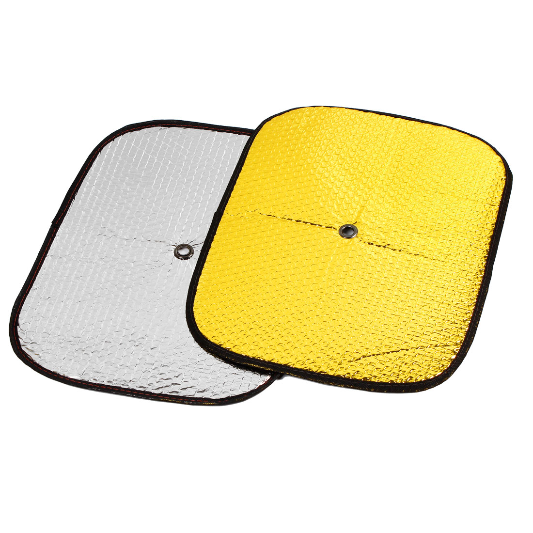 44cm x 35cm Gold Tone Front Rear Window Sun Shield Sunshade 2PCS for Auto