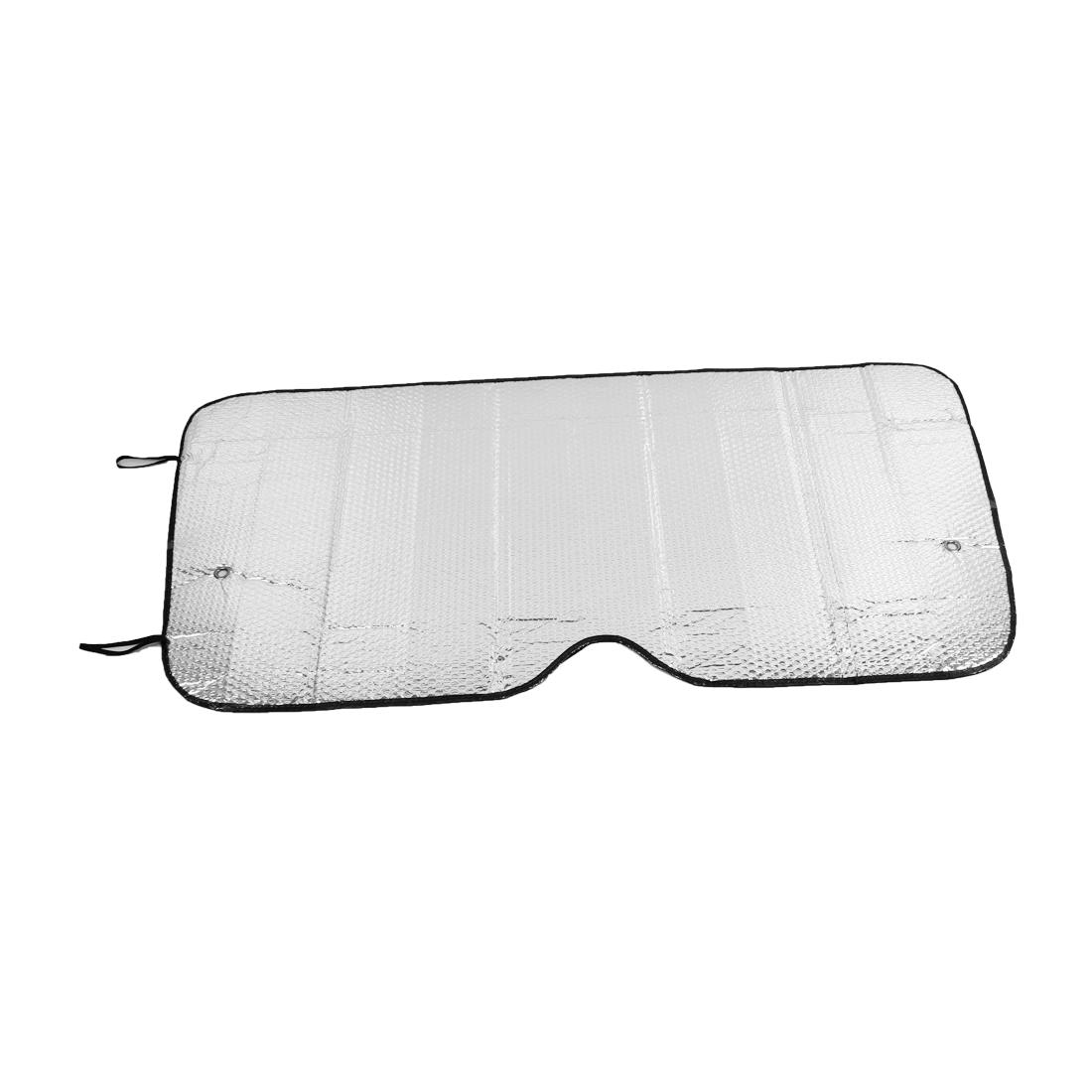 Vehicle Car 116cm x 61cm Silver Tone Sun Visor Sunshield Sunshade w Suction Cup