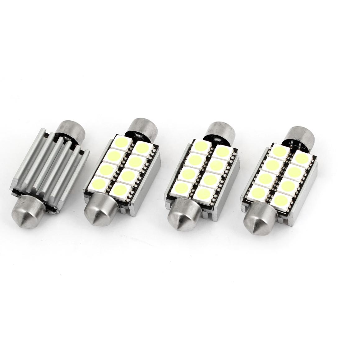 4pcs Car 8 White 5050 SMD LED Heat Sink Error Free Festoon Dome Map Light 41mm