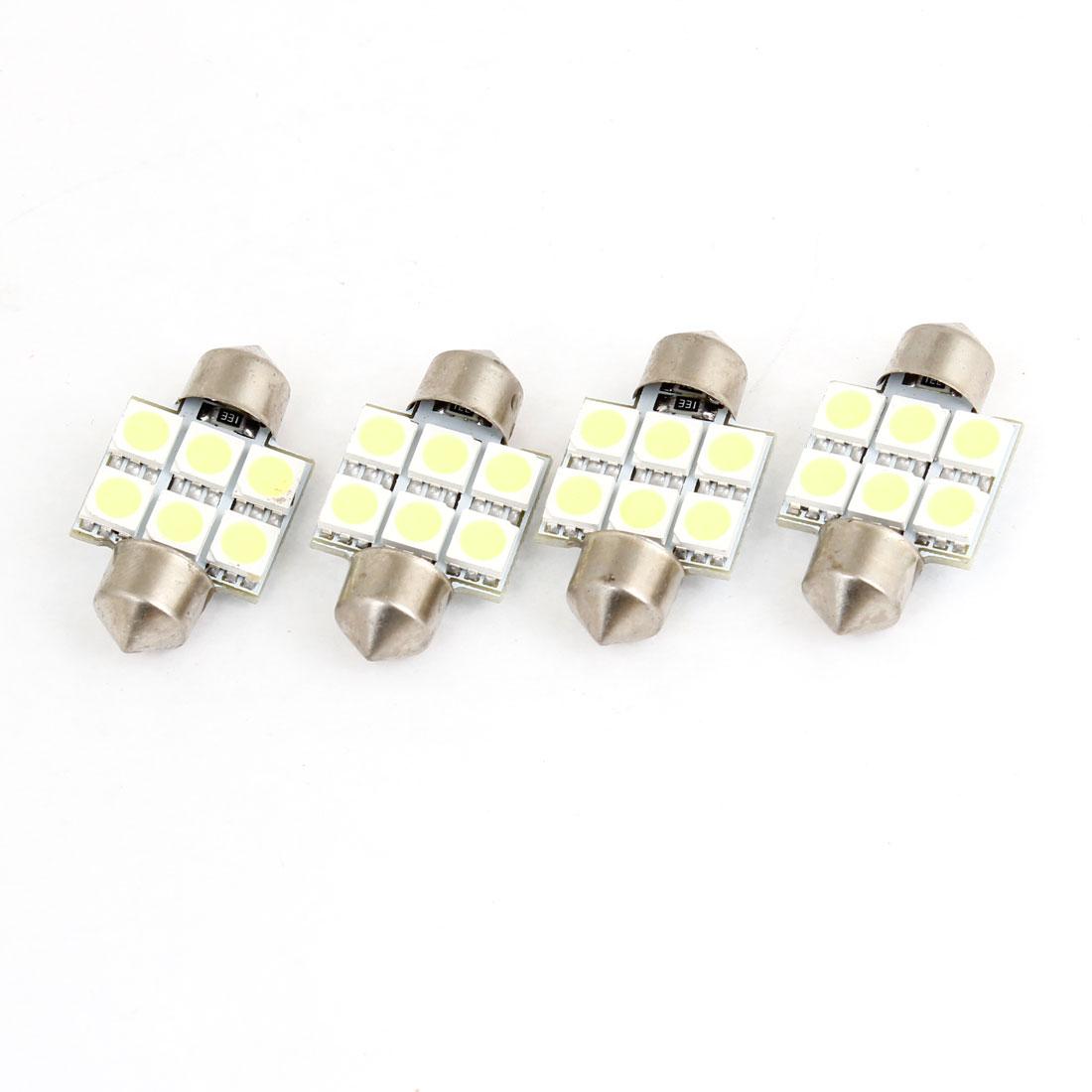 4PCS 31mm White 6 LED 5050 SMD Festoon Light Bulb for Car Interior Dome Lamp