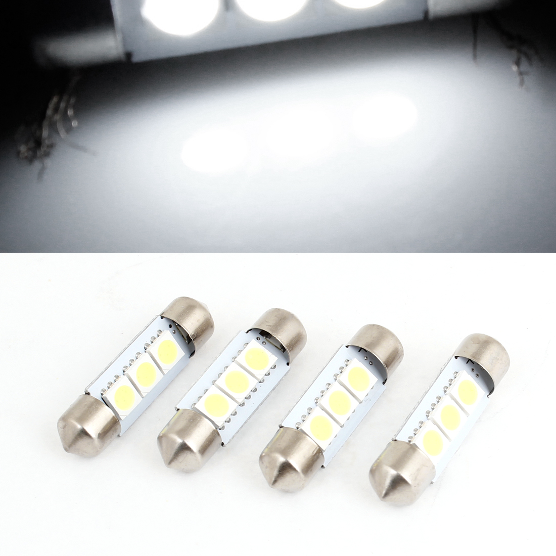 4PCS 36mm White 3 LED 5050 SMD Festoon Light Bulb 6413 for Car Interior Dome Lamp