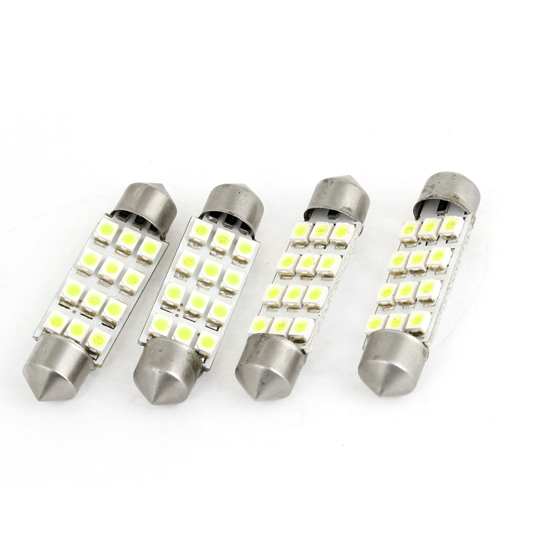 4 Pcs Vehicle Car White 12-LED 1210 SMD Festoon Light Roof Lamp Bulb 41mm