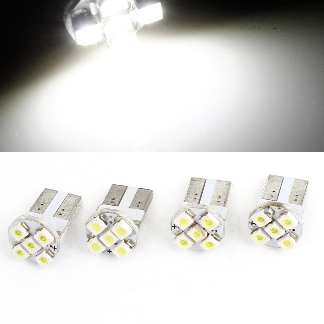 Vehicle Car White 5 LED 1210 3528 SMD Dash Dome Light Lamp Bulb 4pcs T10