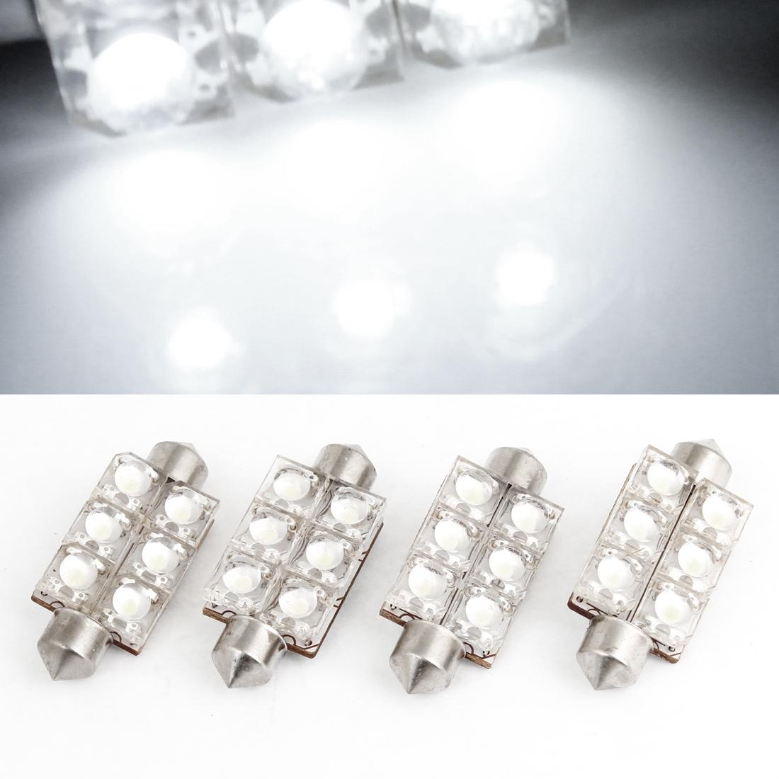 4PCS 41mm White 6 LED Festoon Light Bulb for Auto Interior Dome Lamp