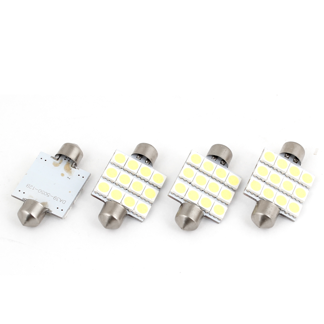 4 Pcs 12 5050 SMD LED White 39mm Festoon Vehicle Dome Map Light