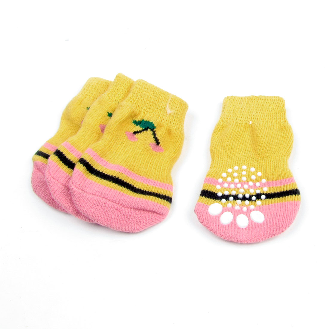 2 Pairs Paw Pattern Antislip Bottom Pet Dog Doggie Puppy Socks Orange Pink