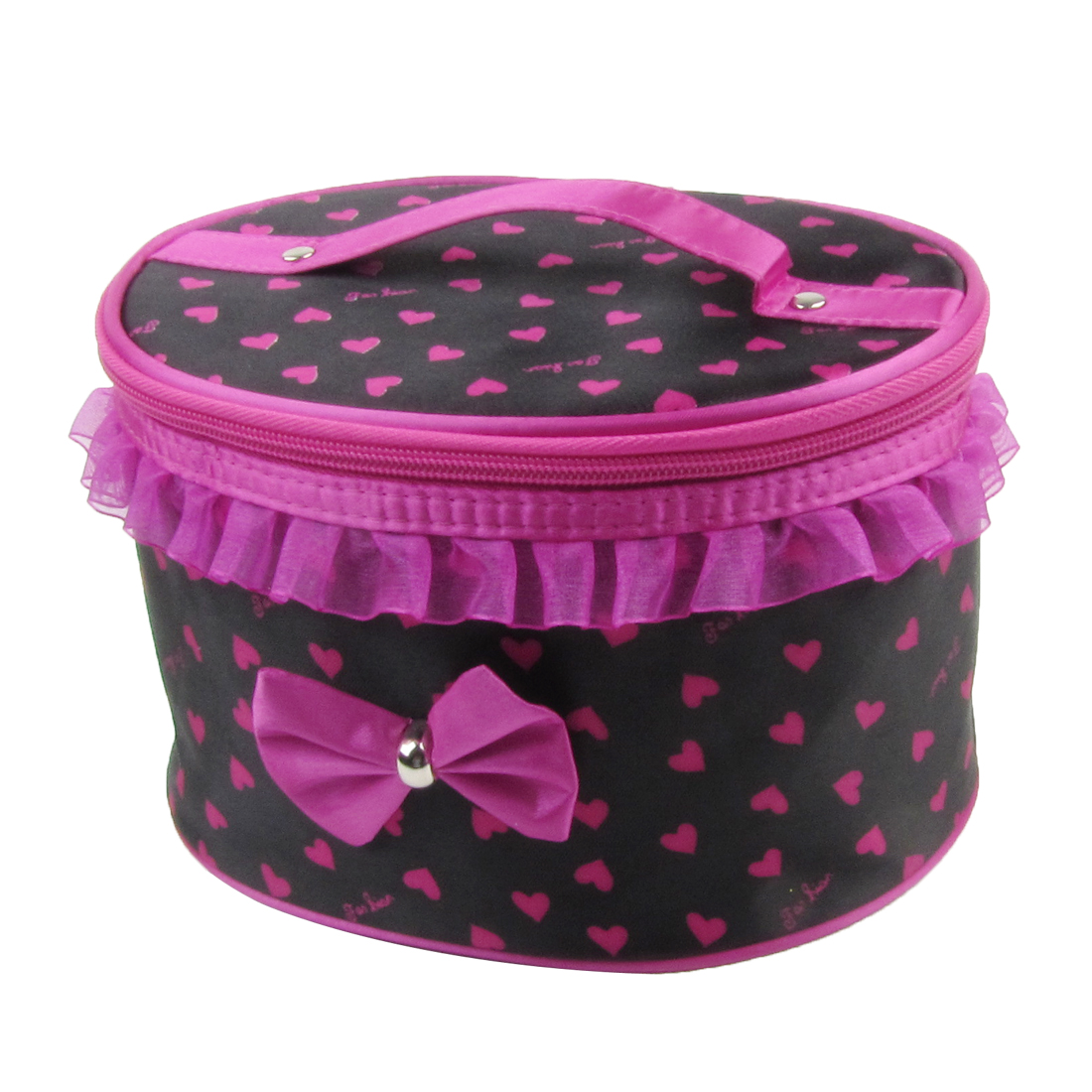 Bowknot Lace Detail Black Fuchsia Cosmetic Pouch Bag Holder w Mirror for Lady