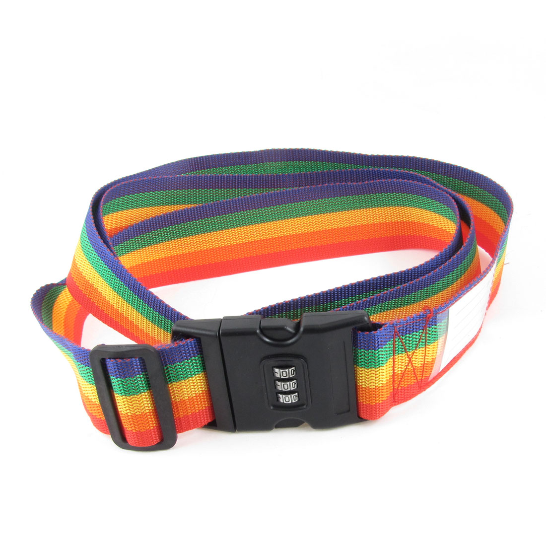 Combination Locking Red Green Striped Nylon Luggage Strap Belt 204cm Length