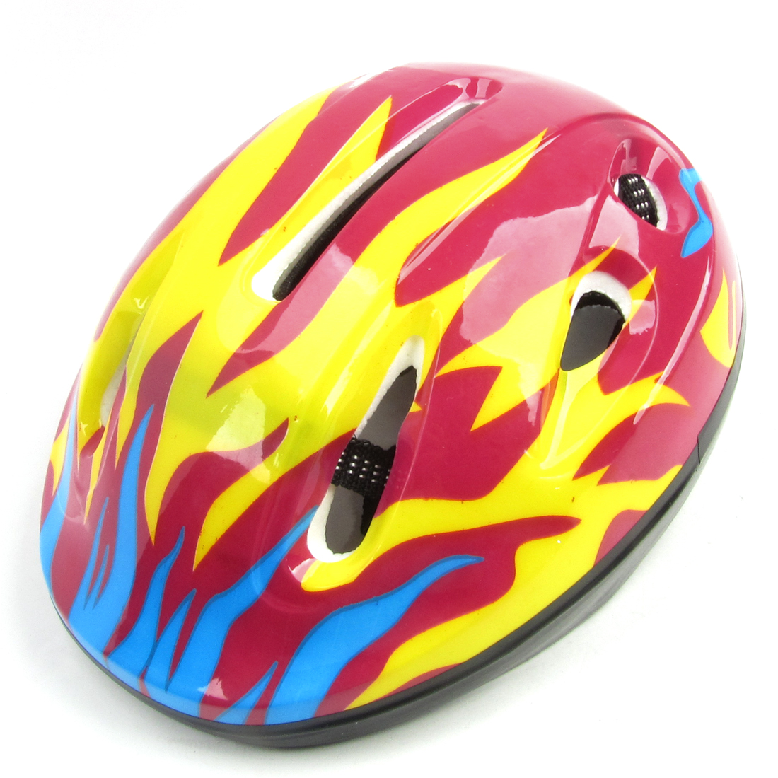Flame Pattern Roller Skating Racing Sports Protective Bike Helmet Yellow Blue
