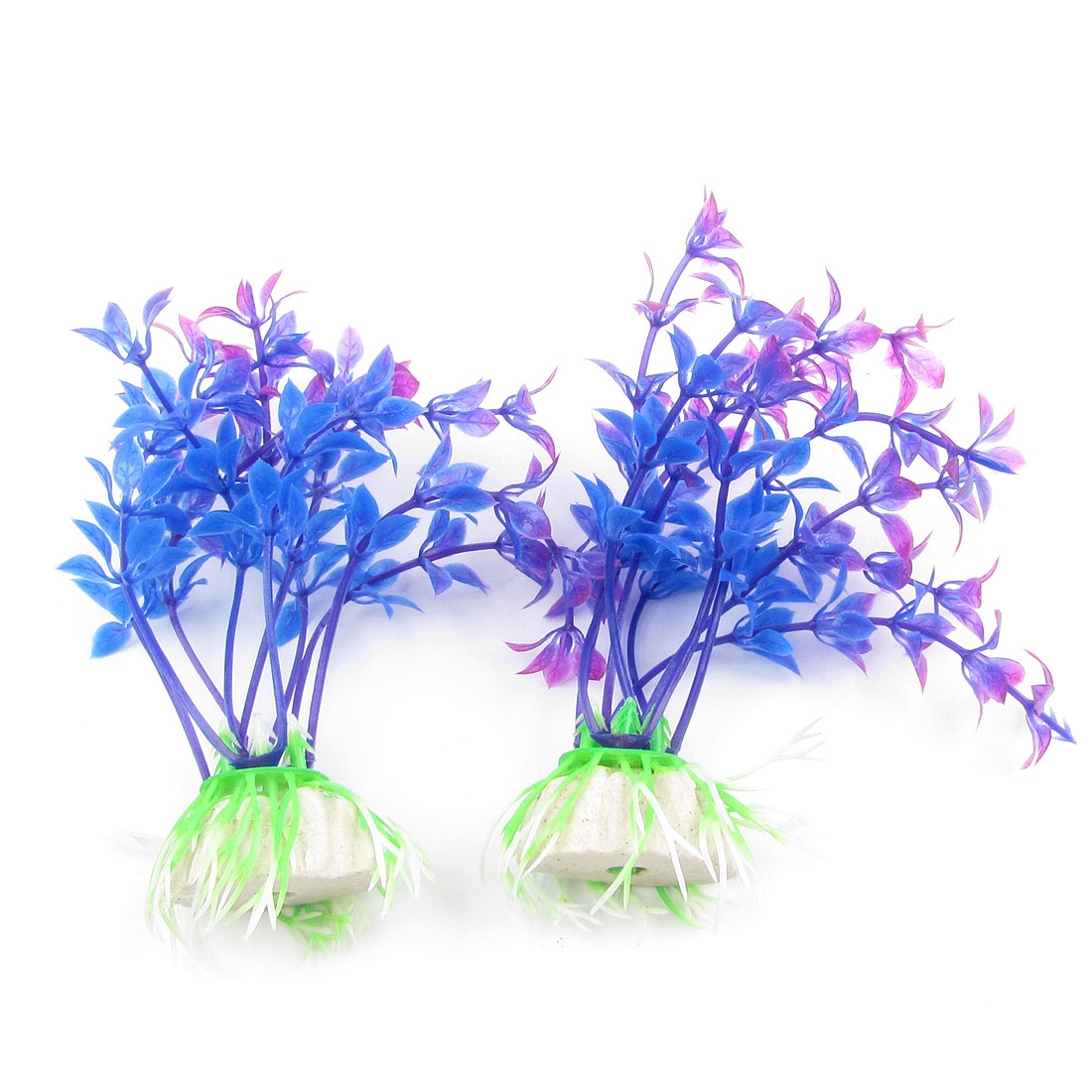 "Fish Tank Aquarium Decor Emulational Plastic Plant Blue Purple 3.9"" High 2 Pcs"