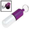 Silver Tone Purple Aluminum Cylinder Shaped Pill Tablet Case Box Holder