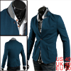 Men Convertible Collar Long Sleeve Blazer Turquoise M