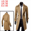 Men Button Closure Long Sleeve Pockets Overcoat Camel M