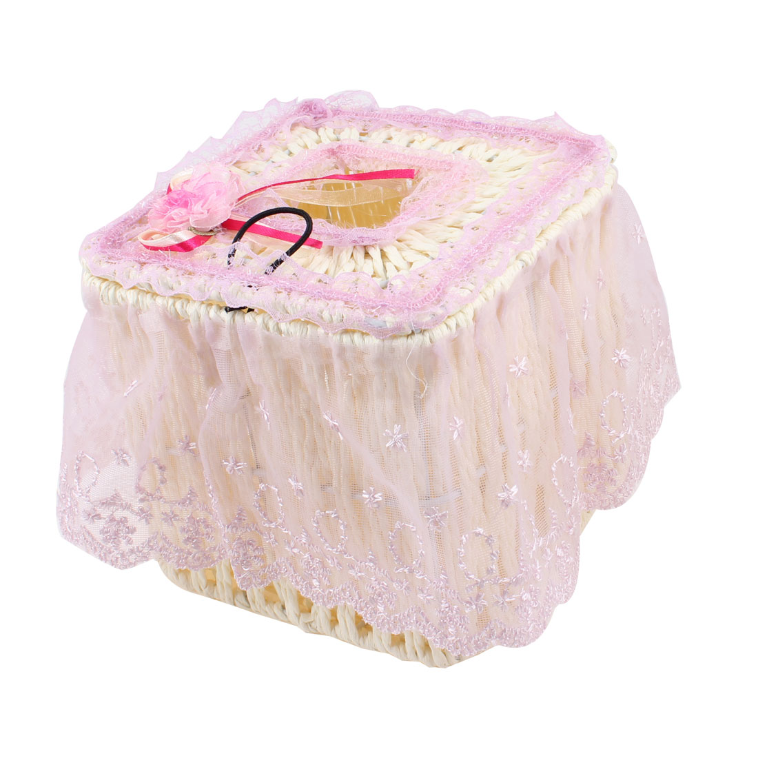 Pink Flower Detailed Light Purple Lace Coated Beige Tissue Paper Case Holder