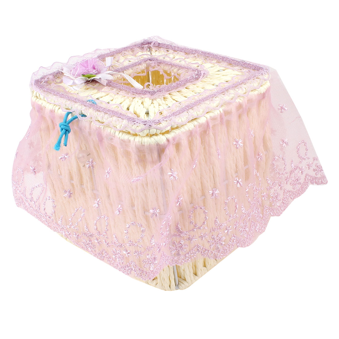 Home Light Purple Flower Accent Lace Coated Square Shape Tissue Box Container