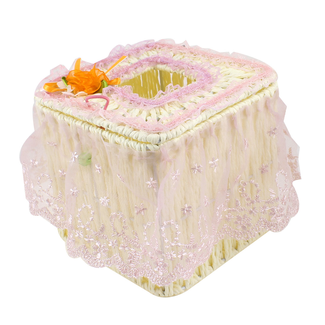 Home Light Purple Flower Lace Decor Square Shaped Beige Woven Tissue Box Case