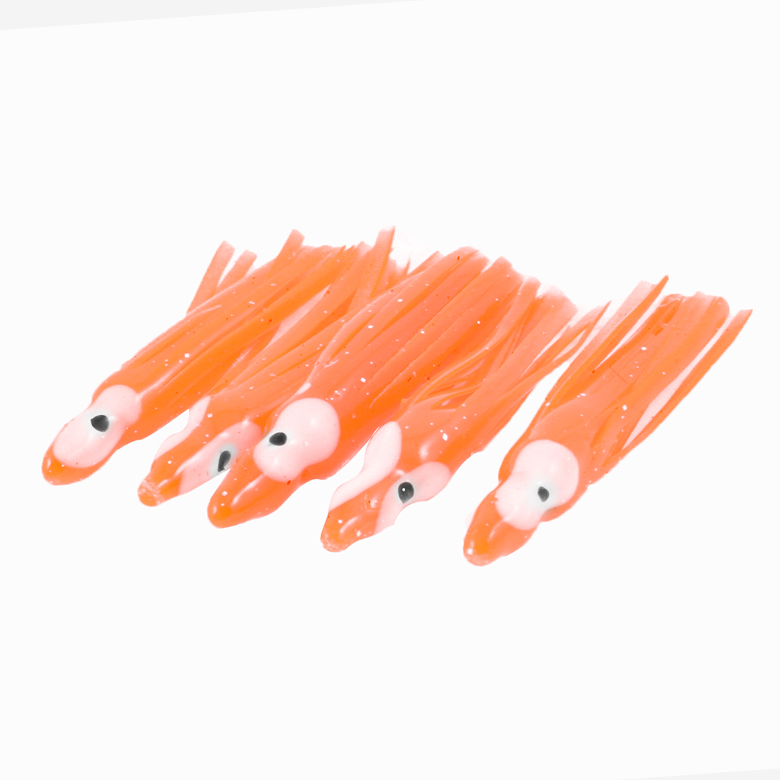 "5 Pcs Soft Silicone Octopus Shaped Orange Red Fishing Baits Lure 2"" Length"