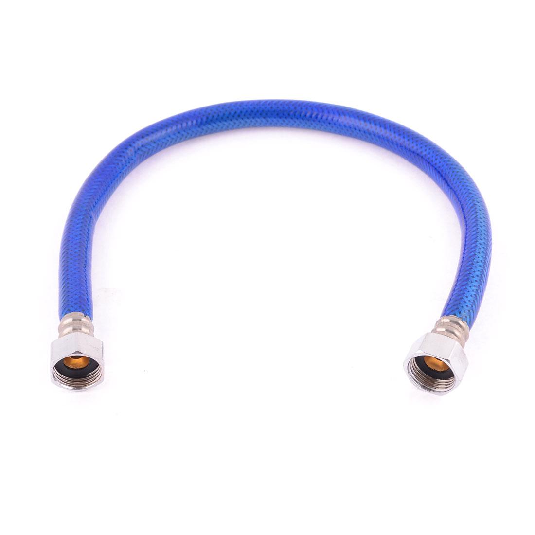 "50cm Long 1/2""NPT Thread Flexible Shower Hose Water Heater Tube Pipe Blue"