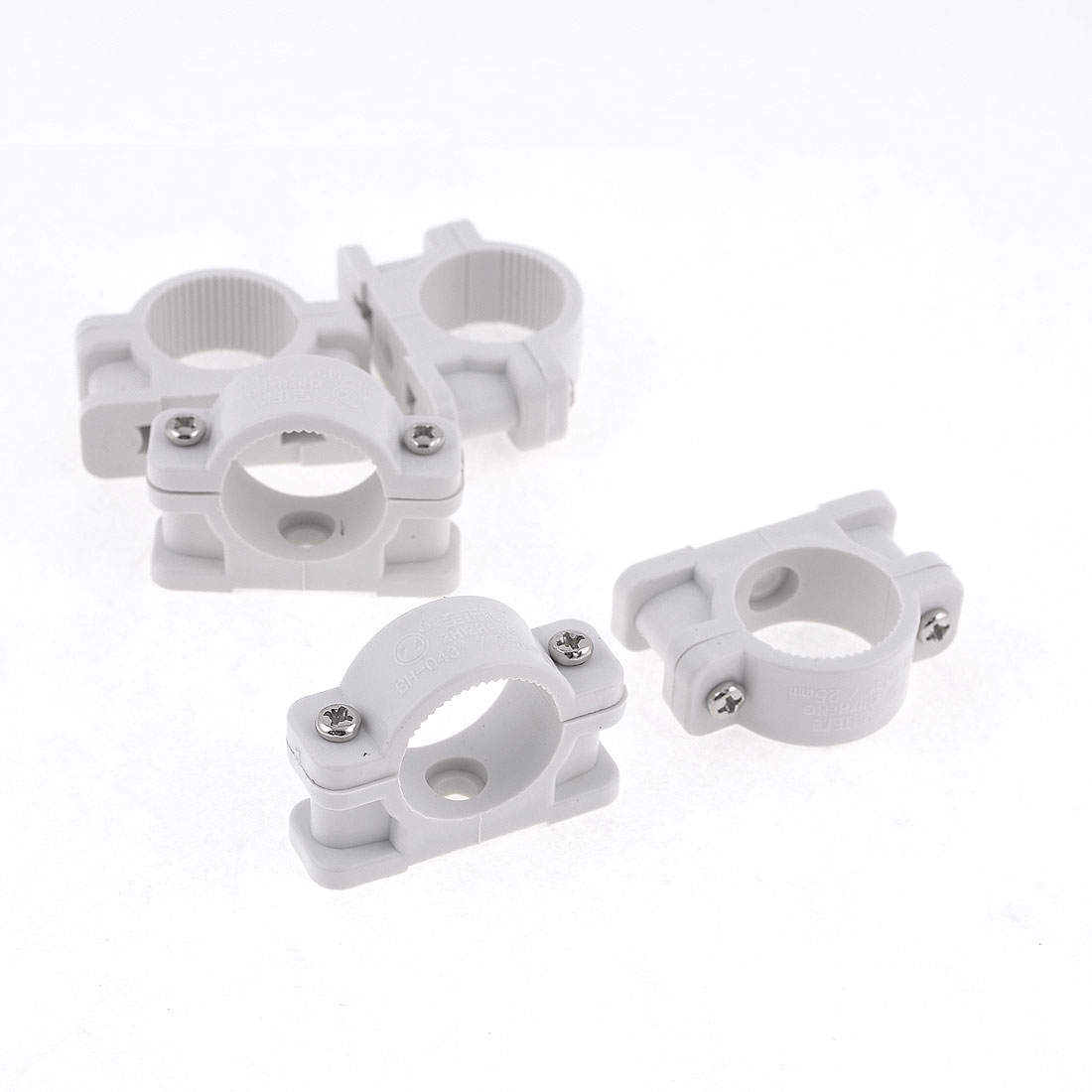 25mm Diameter Plastic Tube Pipe Clamps Clips Connectors White 5 Pcs