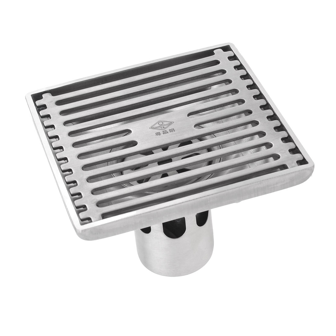 "3.7"" Dia Stainless Steel Square Shape Two Way Sink Floor Drain Silver Tone"
