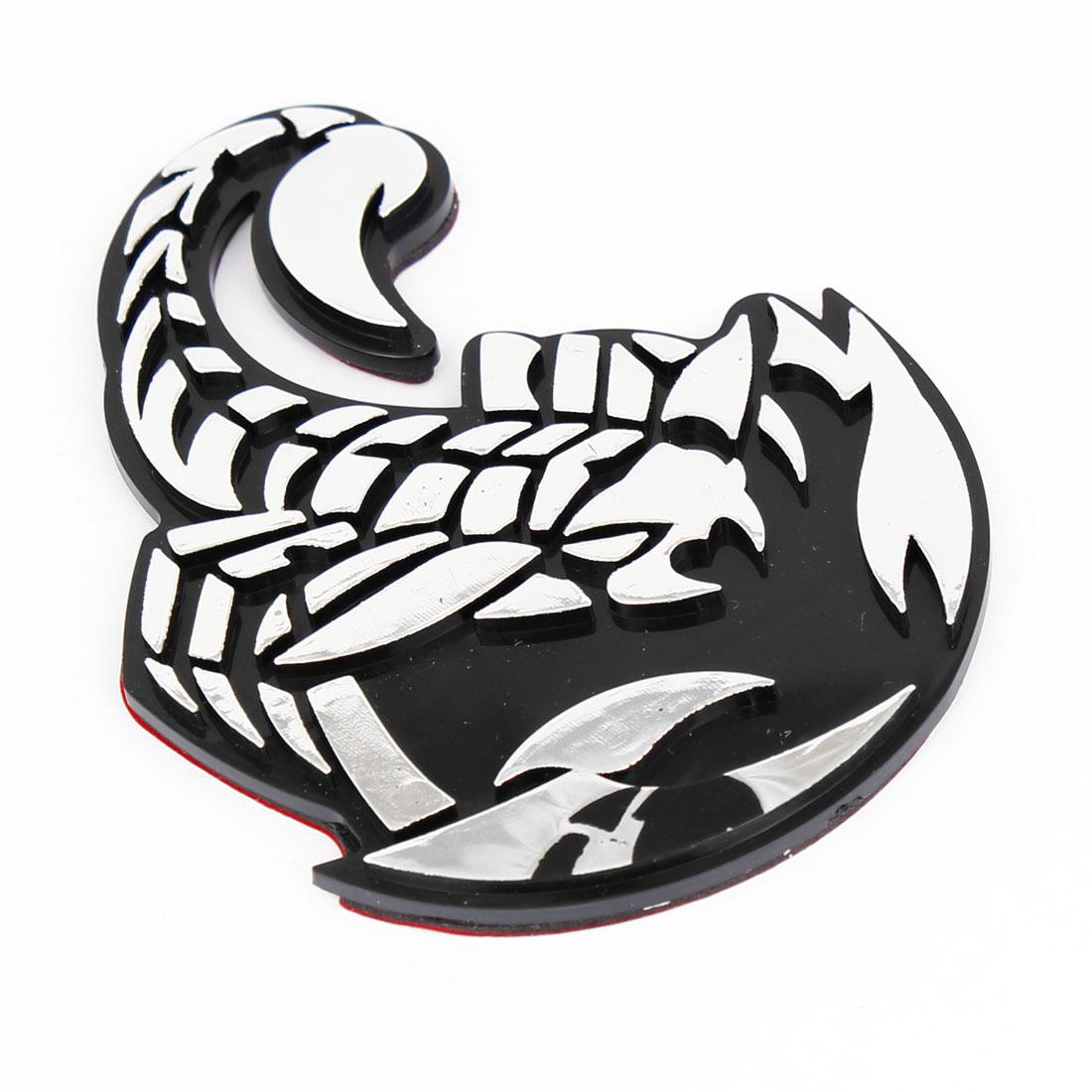 Truck Car Front Hood 3D Plastic Scorpion Design Sticker Emblem Silver Tone Black