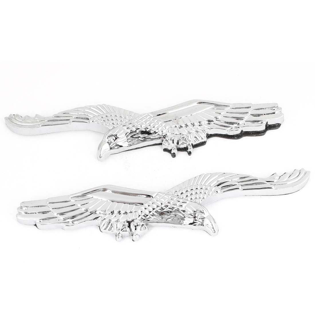 Silver Tone Eagle Shaped Plastic Car Auto Badge Sticker Emblem Decor 2PCS