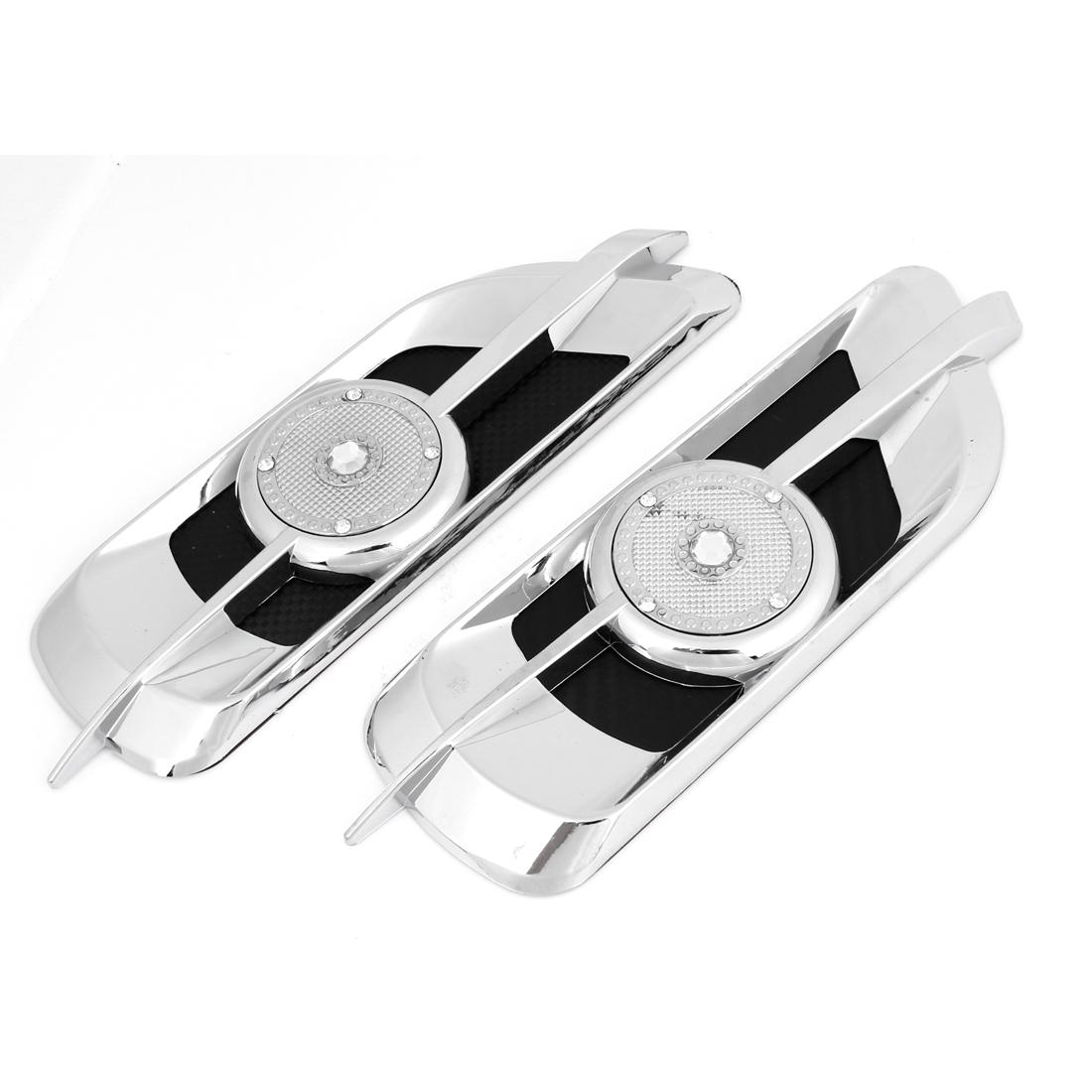 2PCS Auto Rhinestone Decor Air Vent Fender Stickers Ornament Silver Tone Black