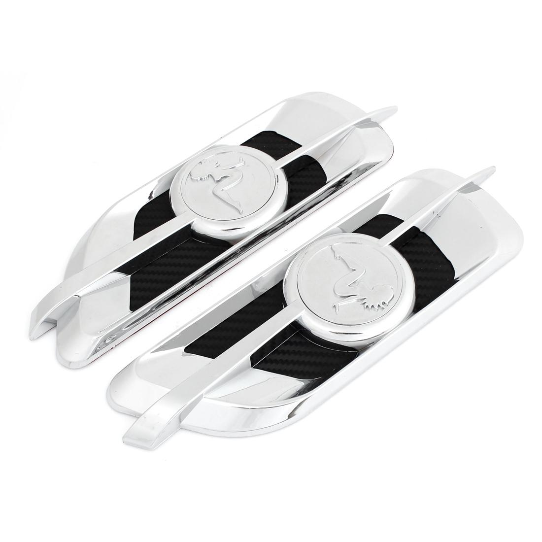 2PCS Vehicle Car Air Vent Fender 3D Sticker Ornament Silver Tone Black
